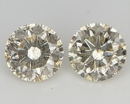 2/0.31 CTS , Yellow Salt And Pepper Diamonds , Natural Round