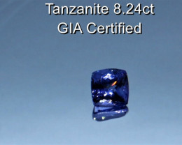 8.24cts Natural GIA Certified Tanzanite    Cushion Cut