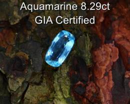 8.29cts Natural GIA Certified Aquamarine    Cushion Cut