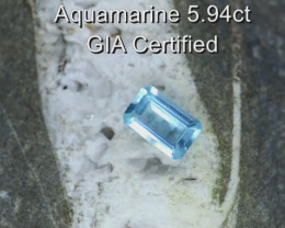 5.94cts Natural GIA Certified Aquamarine  Octagon Cut