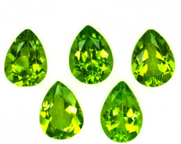 5.65 Cts Natural Parrot Green Peridot 8x6mm Pear Cut 5Pcs Pakistan