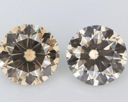 2/0.46 cts , Round Brilliant Diamonds , 2 Natural Colored Diamonds