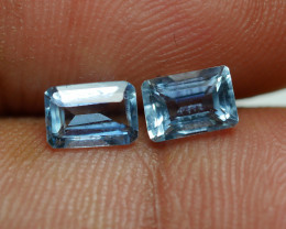 1.215 CRT  2 PCS PAIR BEAUTY CUT AQUAMARINE-