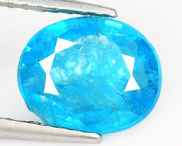 1.56 Cts Un Heated Natural Neon Blue Apatite Loose Gemstone