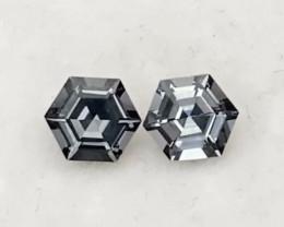 Pretty Pair of Hexagonal Cut Grey Spinel Pair - Burma