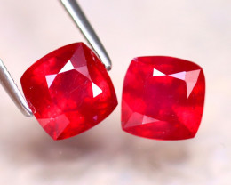 Ruby 4.30Ct 2Pcs Madagascar Blood Red Ruby EF1418/A20
