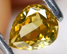 Greenish Yellow Diamond 0.27Ct Natural Untreated Fancy Diamond AT0149