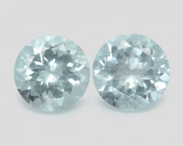 3.31 Cts 2 Pcs Un Heated  Blue  Natural Aquamarine Loose Gemstone