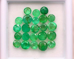 4.21ct Natural Zambia Green Emerald Round Cut Lot GW7945