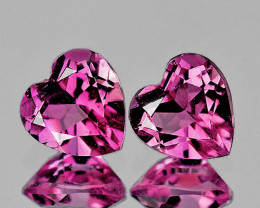 4.00 mm Heart 2pcs 0.44ct Pink Tourmaline [VVS]