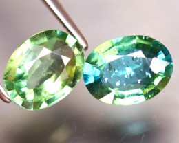 Apatite 3.42Ct 2Pcs Natural Paraiba Green Color Apatite DF1522/B44
