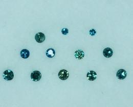 Fabulous!!!  0.15 Cts Natural Diamond Greenish Blue 12Pcs Round 1.60mm  A