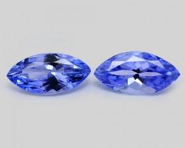1.12 Cts 2pcs Amazing rare Violet Blue Color Natural Tanzanite Gemstone