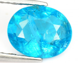 1.60 Cts Un Heated Natural Neon Blue Apatite Loose Gemstone