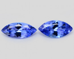 0.95  Cts 2pcs Amazing rare AA Violet Blue Color Natural Tanzanite Gemstone