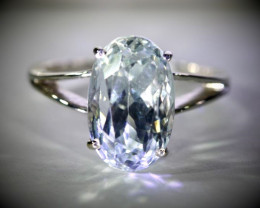 Blue Kunzite 9.12ct Solid 18K White Gold Ring