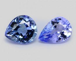 1.14 Cts 2pcs Amazing rare A+ Violet Blue Color Natural Tanzanite Gemstone