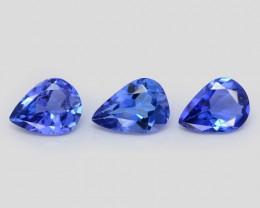 0.42 Cts 3Pcs Amazing rare AAA Violet Blue Color Natural Tanzanite Gemstone