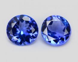 0.49 Cts 2pcs 3.9mm  RD  AAA Violet Blue Color Natural Tanzanite Gemstone