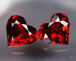 Spessartite Garnet 2.99Ct 2Pcs VS Heart Cut Natural Garnet Lot AT0158