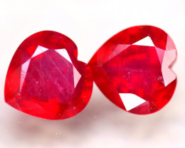 Ruby 16.00Ct 2Pcs Heart Shape Madagascar Blood Red Ruby ER363/A20