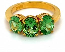 Tsavorite Garnet 2.36ct Solid 22K Yellow Gold Multistone Ring
