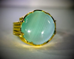 Green Cats Eye Calcite 13.09ct Solid 18K Yellow Gold Ring