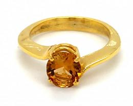 Orange Tourmaline 1.38ct Solid 18K Yellow Gold Ring