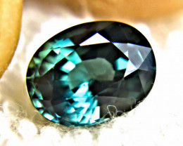 CERTIFIED - 3.03 Ct. VVS Blue Green Natural, Unheated Sapphire - Superb