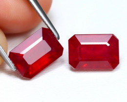 Red Ruby 5.67Ct 2Pcs Octagon Cut Pigeon Blood Red Ruby B465