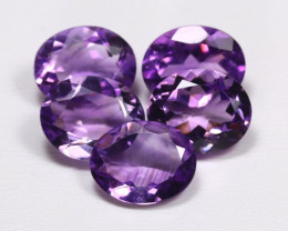Amethyst 15.11Ct 5Pcs Oval Cut Natural Bolivian Purple Amethyst AB580