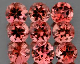 3.00 mm Round 9 pcs 1.08cts Orange Pink Tourmaline [VVS]