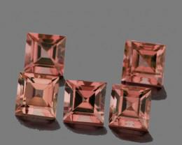 4.00 mm Square 5 pcs 1.86cts Orange Pink Tourmaline [VVS]