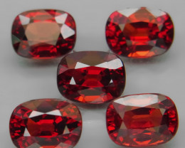 10.22  ct. Natural Earth Mined Red Rhodolite Garnet Africa - 5 Pcs
