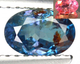0.96 Cts NATURAL ALEXANDRITE BLUISH GREEN TO ORANGISH RED OVAL CUT