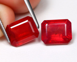 Red Ruby 6.30Ct 2Pcs Octagon Cut Pigeon Blood Red Ruby B733