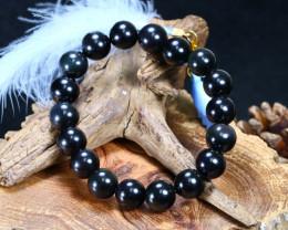 103.70Ct Natural Black Cbsidian Beads Bracelet B849