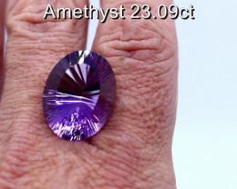 23.09cts Natural IGI Certified Purple Amethyst        Oval Cut