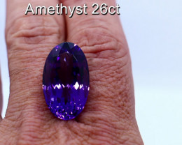 26cts Natural Purple Amethyst         Oval Cut