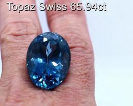 65.94cts Natural Swiss Topaz       Oval Cut
