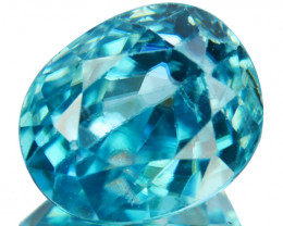 ~SHIMMERING~ 2.01 Cts Natural Blue Zircon Oval Cut Cambodia