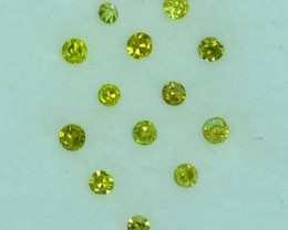 ~SPARKLING~ 0.10 Cts Natural Golden Diamond 1.00mm Round 2Pcs Africa