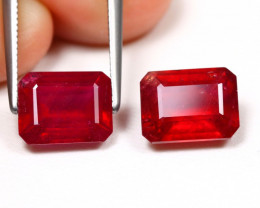 Red Ruby 6.02Ct 2Pcs Octagon Cut Pigeon Blood Red Ruby B980