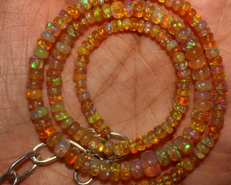 38 Crt Natural Ethiopian Welo Fire Opal Beads Necklace 928