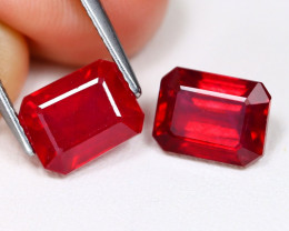 Red Ruby 6.20Ct 2Pcs Octagon Cut Pigeon Blood Re Ruby B961