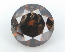 0.79 cts  , Orangy Brown Natural Diamond , Round Brilliant Cut