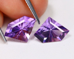 Amethyst 2.66Ct 2Pcs VVS Fancy Cut Natural Purple Amethyst AB1008