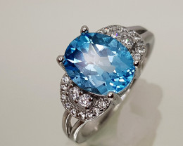17CT BLUE TOPAZ 925 SILVER RING SIZE7 BEST QUALITY GEMSTONE IIGC48
