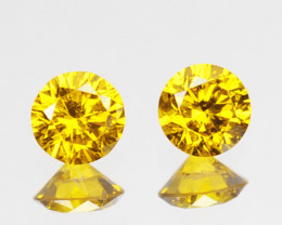 ~SPARKLING~ 0.11 Cts Natural Golden Diamond 2.5mm Round 2Pcs Africa