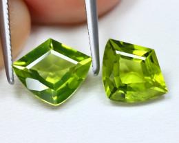 Peridot 3.13Ct 2Pcs Shield Cut Natural Neon Green Peridot B1197